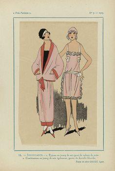 Anonymous | Très Parisien, 1923, No 7: 16.- INSOUCIANCE. - 1. Pyjama en jersey de soie..., Anonymous, Julien Giguet, G-P. Joumard, 1923 | 1. Pyjama van zijden jersey gegarneerd met linten van satijn. 2. Combinatie (nachtjurk en nachtmuts) van zijden jersey gegarneerd met wit kant. Stoffen van Giguet. Prent uit het modetijdschrift Très Parisien (1920-1936).