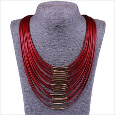 2015 New arrive High quality Fashion 6 Colors exaggerated Personalized Joker Necklaces Multilayer leather chain Tassels collares-in Power Necklaces from Jewelry on Aliexpress.com | Alibaba Group