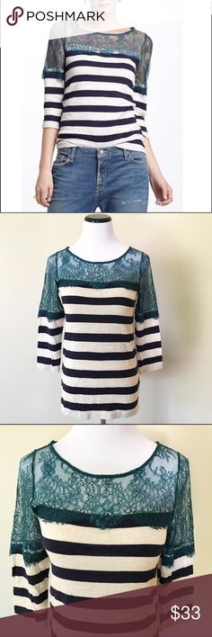 NWT Anthropologie Deletta Lace Striped top in XS Beautiful NWT Anthropologie Deletta Lace Striped top. Size XSmall and the top part is a sheer teal/turquoise lace made from nylon and the body and sleeves are made from 100% cotton. The body is dark Navy blue with heather gray stripes and it is a soft knit. Anthropologie Tops Blouses