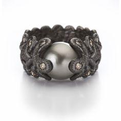 ORRO Contemporary Jewellery Glasgow - Brigitte Adolph - Silver Black Tahiti Pearl & Diamond Ring - Tahiti Pearl - Brilliant cut champagne diamonds