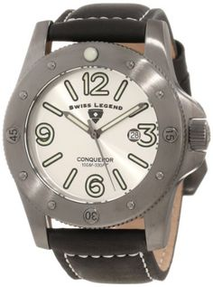 Swiss Legend Men's 20188-GM-02S Conqueror Silver Dial Black Leather Watch Swiss Legend. Save 89 Off!. $65.00. Date function at 3:00. Mineral crystal with sapphire coating; gunmetal ion-plated stainless steel case; black leather strap with contrast stitching. Silver dial with gunmetal tone hands, hour markers and arabic numerals; luminous; unidirectional bezel; screw-down crown. Water-resistant to 100 M (330 feet). Swiss quartz movement