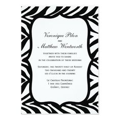 Zebra Print Black White Background Wedding Personalized Announcement