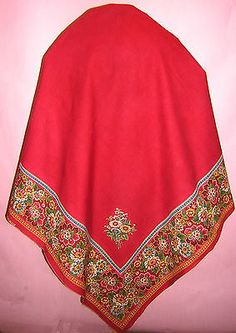 CZECH VINTAGE ANTIQUE PEASANT FOLK COSTUME WOMENS KROJ SCARF SHAWL MORAVIAN