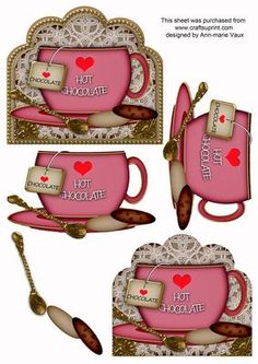 I Love Hot Chocolate Pink Cup 3D Decoupage Sheet on Craftsuprint designed by Ann-marie Vaux - I have designed this sheet with my own graphics that are the cups and saucers. This design is a decoupage sheet to build up a card front image. This sheet gives you the option of 5 layer decoupage, to give your cards a real 3D effect. Simply start with the base layer then use the next layer and so on. The 2 cup layers are the same size but this gives more dimension to the design. - Now available for…
