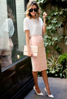 peach pencil skirt with chic top