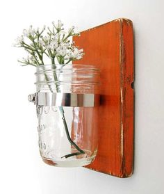 primitive wall decor mason jar vase wood single by OldNewAgain, $22.00