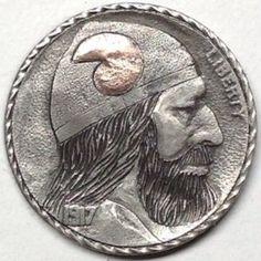 GEDIMINAS PALSIS HOBO NICKEL - COPPER HORN VIKING - 1917 BUFFALO PROFILE Hobo Nickel, Horns, Vikings, Buffalo, Classic Style, Copper, Carving, Profile, Metals