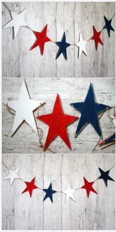 of July garland Patriotic banner USA decor Distressed wood star garland Americana Red white blue stars of july party 4th July Crafts, Fourth Of July Crafts For Kids, Fourth Of July Cakes, Fourth Of July Decor, 4th Of July Decorations, 4th Of July Party, Birthday Decorations, July 4th, Americana Crafts