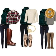 j crew puffer vest. change the shoes on the middle outfit and i love