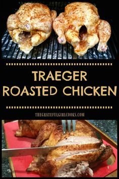 Traeger Roasted Chicken, well seasoned with a dry rub spice mix, is a great meal. - Traeger Roasted Chicken, well seasoned with a dry rub spice mix, is a great meal! Cooking whole chi - Smoked Chicken Recipes, Smoked Whole Chicken, Cooking Whole Chicken, Grilled Whole Chicken, Roast Chicken On Bbq, Chicken Smoker Recipes, Chicken On The Grill, Whole Chicken Marinade, Barbecue