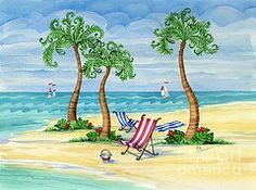 Beach Scene Paintings - Whimsy Bay Sling Chairs by Paul Brent