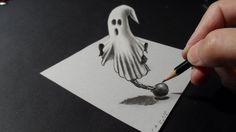 Drawing a 3D Ghost, Halloween