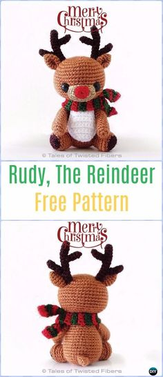 Crochet Amigurumi Rudy The Reindeer Free Pattern - Amigurumi Crochet Christmas Softies Toys Free Patterns