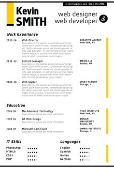 Find the Yellow Web Designer Resume Template on www.cvfolio.com