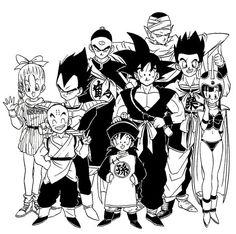 Vegeta, Goku, Gohan, Bulma, Chichi, Krillin, Yamcha, Piccolo, and Tien