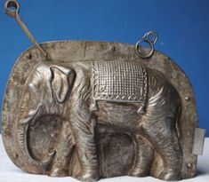 "tin candy molds | ANTIQUE LARGE 7 1/4"" TIN CHOCOLATE MOLD ELEPHANT with BLANKET"