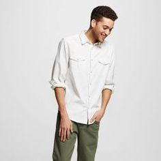 Men's Long Sleeve Button Down Denim Shirt - Mossimo Supply Co.™