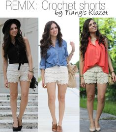 Crochet shorts outfit ideas