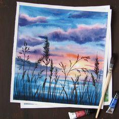 420 отметок «Нравится», 14 комментариев — Zevakova Marina WATERCOLOR (@mari.zevakova) в Instagram: «травинки и облака...Вдохновляюсь летними картинками ☀️ . . #aquarelle #акварель #watercolor…»