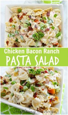 Ranch Pasta Salad is kicked up with the addition of chicken and bacon. This Chicken Bacon Ranch Pasta Salad is a meal in itself! Delicious side dish! via @https://www.pinterest.com/inspiringsaving/