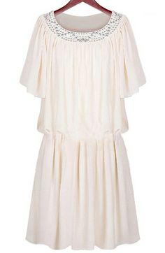 Beige Short Sleeve Pleated Dress GBP£19.89