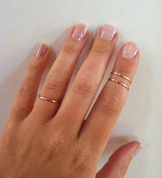 Set 2-Mid Knöchel Ringe-14 K Rose Gold-Ringe Gold gefüllt