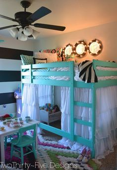 Ikea Bunk Bed Hack - Two Thirty-Five Designs. Curtain rods on a bunk bed. - maybe if we want to bunk beds to make more room this could be a potential layout with the desk underneath? Mydal Ikea, Ikea Bunk Bed Hack, Girls Bedroom, Bedroom Decor, Bedroom Ideas, Bed Ideas, Bedroom Rugs, Kid Bedrooms, Decor Ideas