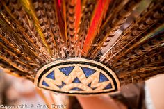 23 APRIL 2011 - PHOENIX, AZ:  An Aztec headdress worn during a traditional blessing at an immigration rally in Phoenix Saturday. About 500 immigrants' rights supporters marched through Phoenix, AZ, Saturday, April 23 to protest the first anniversary of SB1070, Arizona's tough anti-immigrant law. The law was signed by Gov Jan Brewer on April 23, 2010. The federal courts have blocked implentation of the law on constitutional grounds and it has yet to be enforced.     Photo by Jack Kurtz
