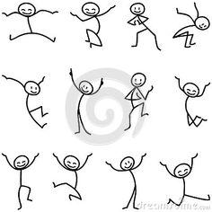 Figura celebración de salto feliz del palillo del hombre del palillo