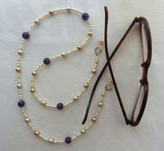 EYEGLASS CHAIN, Amethyst and Pearls