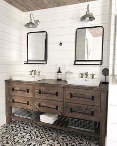 This solid wood, rustic farmhouse style double bath vanity features 4 or 6 roomy. This solid wood, rustic farmhouse style double bath vanity features 4 or 6 roomy… Wooden Bathroom Vanity, Bathroom Double Vanity, Bathroom Cabinets, Modern Bathroom, Rustic Master Bathroom, Bathroom Tray, Rustic Bathroom Designs, Wood Bath, Diy Vanity