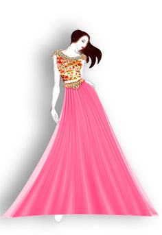 Graphical fashion Illustration made for sister's outfit for attending wedding at home.