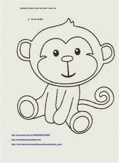 Animal Templates, Applique Templates, Applique Patterns, Drawing For Kids, Art For Kids, Monkey Crafts, Monkey Birthday, Baby Shawer, Felt Patterns