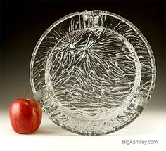 Immense Ice Glass Ashtray by Blenko Art Glass