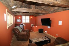 696 S Avion Theatre Room with Barnwood Ceiling and Beams