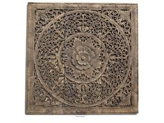 Rustic Wall Art Hanging. Thai Carved Wood Lotus Relief Panel. Reclaim Teak Wood Carving Decorative. Oriental Decor.(3'X3' Ft. Black wash) by SiamSawadee on Etsy
