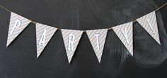 DIY:  Bunting Banners ~    A fun decoration for any party or celebration. Entire alphabet is  available to create whichever words you want.   RED Bunting Download @: http://www.lovevsdesign.com/printables/ BLUE Bunting Download @: http://www.lovevsdesign.com/printables/