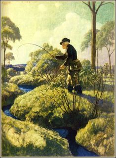 N. C. Wyeth - Trending Into Maine by Kenneth Roberts Published by Little, Brown and Company, 1938, (14 of 19) Trout fishing
