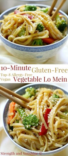 10-Minute Gluten-Free Vegetable Lo Mein. The perfect lunch or dinner! #glutenfree #vegetables #healthy #eatclean #recipe #cook #delicious