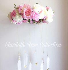 Another custom flower mobile . Another custom f Gold Glitter, Glitter Roses, Bohemian Baby Nurseries, Charlotte Rose, Flower Mobile, Nursery Decor, Nursery Ideas, Floral Flowers, Girls Bedroom