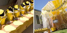Bee Theme party decor ? Lots of yellow and white streamers and balloons.