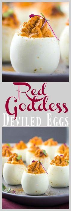 Red Goddess Deviled Eggs