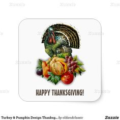 Thanksgiving Gift Stickers with a vintage Victorian age Turkey and Pumpkin postcard image. Matching Cards, Postage Stamp and other products available in the oldandclassic store at zazzle.com