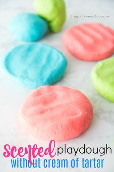 How to Make Playdough Recipe Without Cream of Tartar - Have you run out of cream of tartar? Try this easy, scented, no-cook playdough! This is perfect for sensory activities! Playdough recipe without cream of tartar.