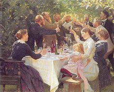 P.S. Krøyer: Hip, Hip, Hurra! Kunstnerfrokost på Skagen.1888