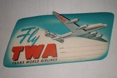 Vintage 1950's TWA Fly TWA Airlines Address Label