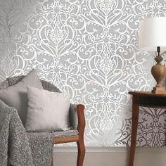 NEW Exclusive Holden Victorian Floral Damask Pattern Metallic Silver Wallpaper   eBay