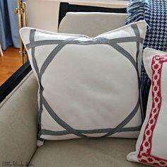 the little black door: ribbon trim pillow diy