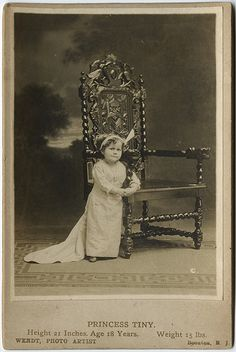 """Princess Tiny"" a circus performer with P. Barnum- Cabinet portrait of Age 18 Years, Height 21 Inches, Weight by Wendt, Boonton, NJ. Princess Tiny's true name was May Trudgen. Circus Pictures, Old Pictures, Old Photos, Vintage Pictures, Vintage Circus Photos, Steampunk Circus, Mime, Old Circus, Sideshow Freaks"