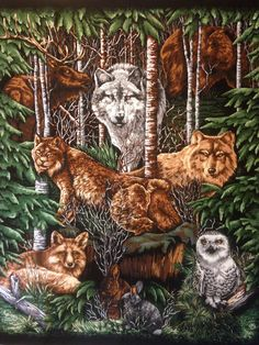 Fox Love Jungle Forest Wallhanging 100/% Cotton Fabric by the panel